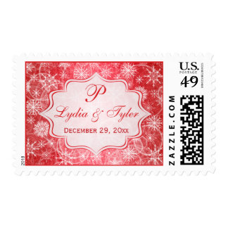 Monogram Red and White Snow Flakes Wedding Postage