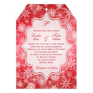 Monogram Red and White Snowflakes Wedding Invite