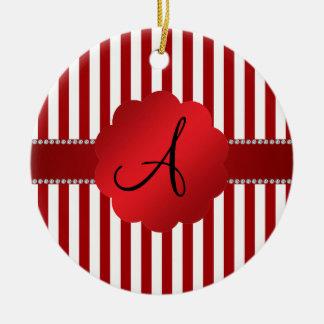 Monogram red and white stripes ceramic ornament