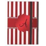 Monogram red and white stripes iPad folio cases