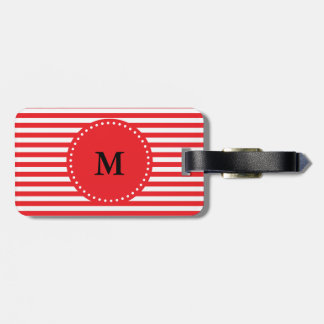 Monogram Red and White Stripes Pattern Tags For Bags