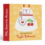 Monogram Red and Yellow Cherry Apron Recipe Binder