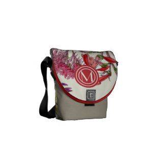 Monogram Red and Yellow Modern Floral Pattern Messenger Bag