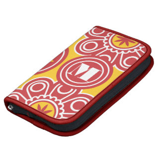 Monogram Red and Yellow Modern Floral Pattern Organizer
