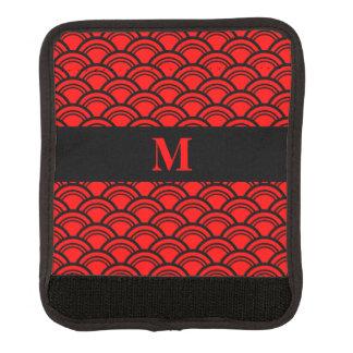 Monogram Red Art Deco Scallop Fish Scales Luggage Handle Wrap