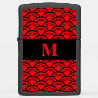 Monogram Red Art Deco Scallop Fish Scales Zippo Lighter