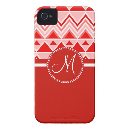 Monogram Red Aztec Andes Tribal Mountains Triangle Blackberry Case