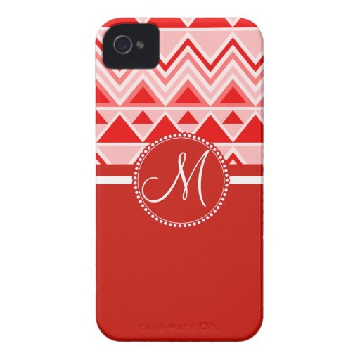 Monogram Red Aztec Andes Tribal Mountains Triangle iPhone 4 Case