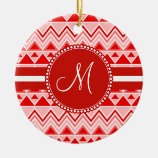 Monogram Red Aztec Andes Tribal Mountains Triangle Ceramic Ornament