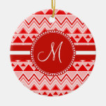 Monogram Red Aztec Andes Tribal Mountains Triangle Double-Sided Ceramic Round Christmas Ornament