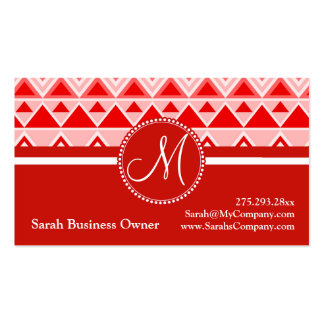 Monogram Red Aztec Andes Tribal Mountains Triangle Double-Sided Standard Business Cards (Pack Of 100)