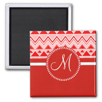 Monogram Red Aztec Andes Tribal Mountains Triangle Magnet