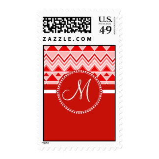 Monogram Red Aztec Andes Tribal Mountains Triangle Stamp