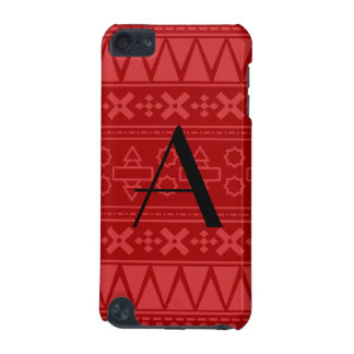 Monogram red aztec pattern iPod touch (5th generation) cover