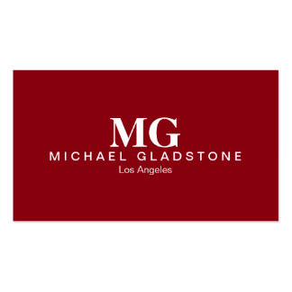 Monogram Red Background Business Card