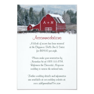 Monogram Red Barn in Winter Wedding Enclosure Card