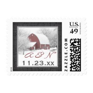 Monogram Red Barn in Winter Wedding Postage