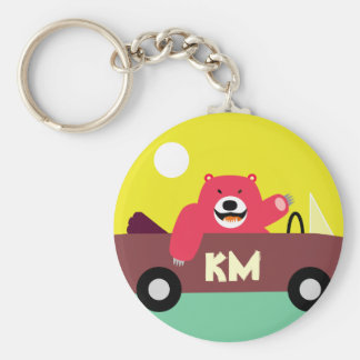 Monogram - Red Bear in Car Basic Round Button Keychain