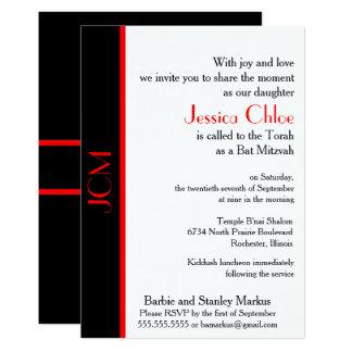 Monogram Red Black Bat Mitzvah Card