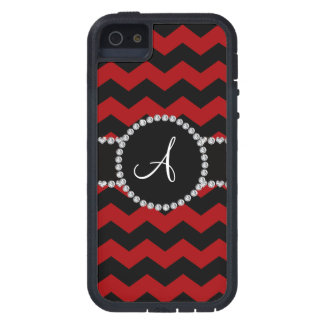 Monogram red black chevrons black stripe iPhone 5 covers