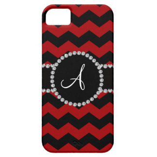 Monogram red black chevrons black stripe iPhone 5 case