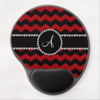 Monogram red black chevrons black stripe gel mouse pad