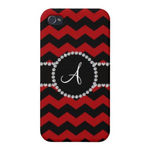 Monogram red black chevrons black stripe iPhone 4 cases