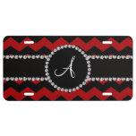 Monogram red black chevrons black stripe license plate