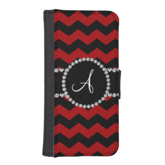 Monogram red black chevrons black stripe iPhone 5 wallets