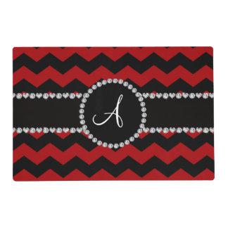 Monogram red black chevrons black stripe placemat
