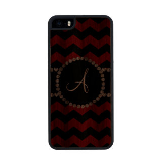 Monogram red black chevrons black stripe carved® walnut iPhone 5 case