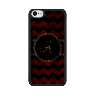 Monogram red black chevrons black stripe carved® walnut iPhone 5C slim case