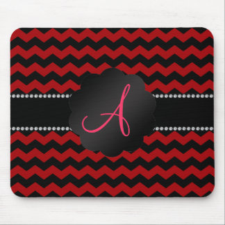 Monogram red black chevrons mouse pad