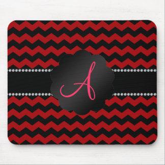 Monogram red black chevrons mouse pad