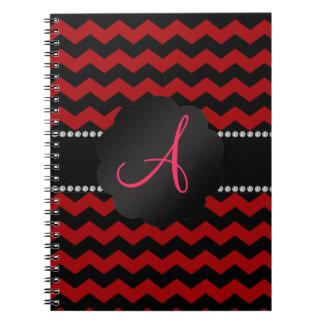 Monogram red black chevrons journals