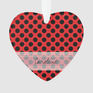 Monogram Red Black Cute Chic Polka Dot Pattern