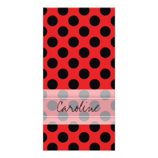Monogram Red Black Cute Chic Polka Dot Pattern Card