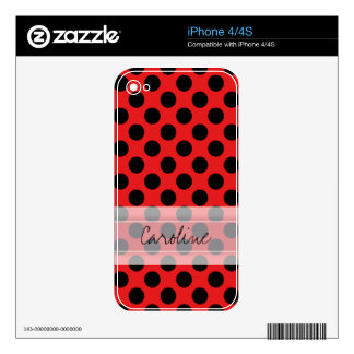 Monogram Red Black Cute Chic Polka Dot Pattern Skin For The iPhone 4S