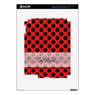 Monogram Red Black Cute Chic Polka Dot Pattern Skins For iPad 3