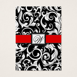 Monogram Red Black Damask Wedding Reception Cards