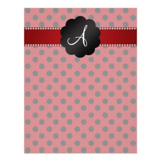 "Monogram red black polka dots 8.5"" x 11"" flyer"