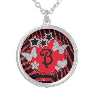 Monogram Red Black Silver Zebra Glitter Necklace
