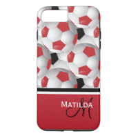 Monogram Red Black Soccer Ball Pattern iPhone 7 Plus Case
