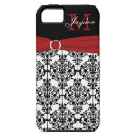 Monogram Red Black White Damask iPhone 5 Vibe iPhone 5 Covers