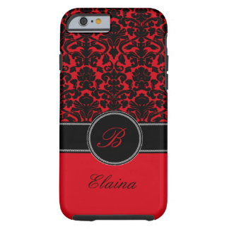 Monogram Red, Black, White Damask iPhone 6 case iPhone 6 Case