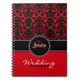 Monogram Red Black White Damask Wedding Planner Notebook
