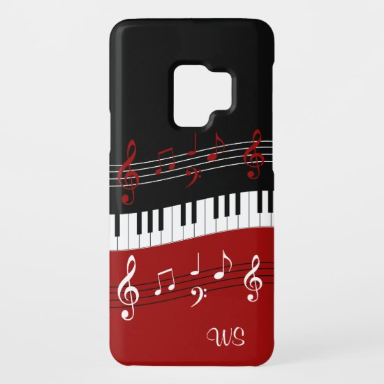 Monogram Red Black White Piano Keys and Notes Case-Mate Samsung Galaxy S9 Case
