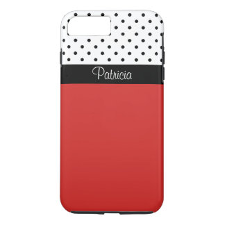Monogram Red Black & White Polka Dots Color Block iPhone 7 Plus Case