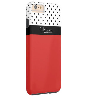Monogram Red Black & White Polka Dots Color Block Tough iPhone 6 Plus Case