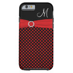 Monogram Red Black White Polka Dots iPhone 6 case